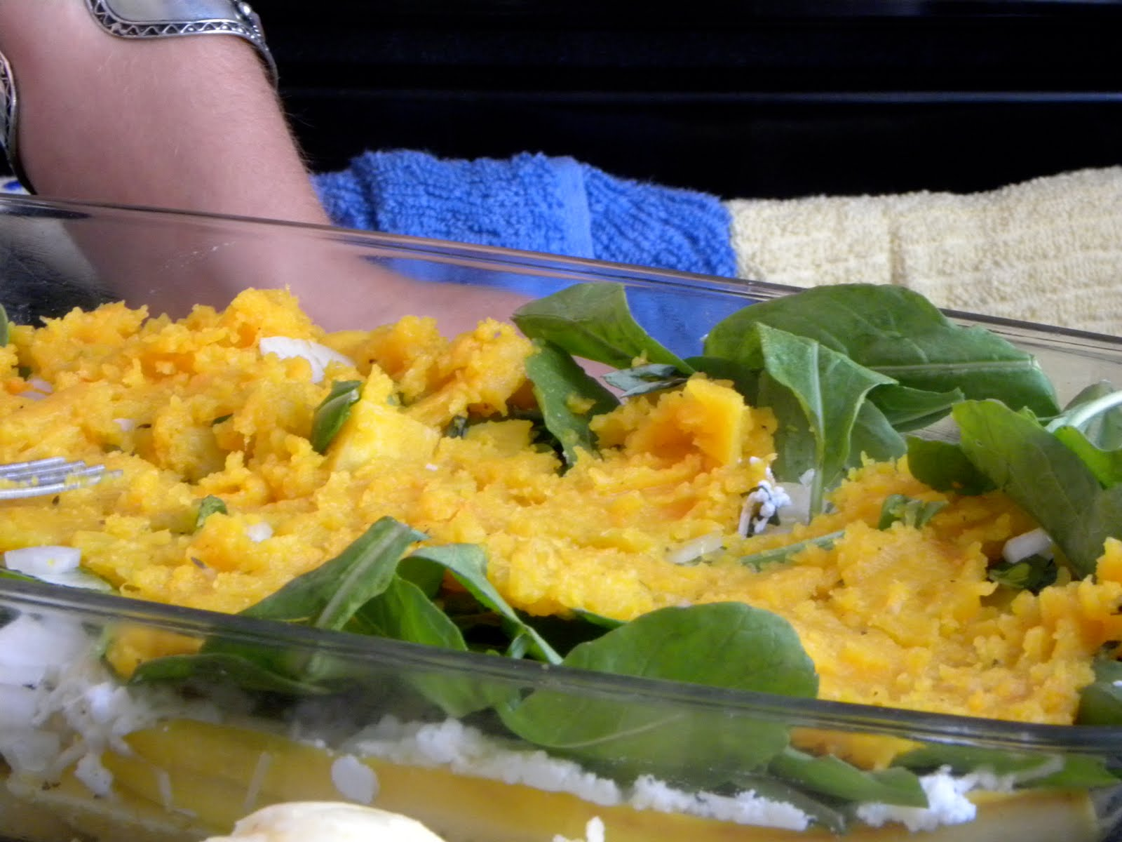 Then, add the butternut squash mixture followed by the three cheese ...