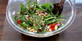 arugula, white bean, cherry tomato salad